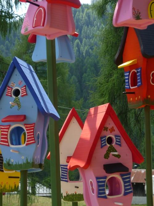schicke vogelhäuser witzig bunt