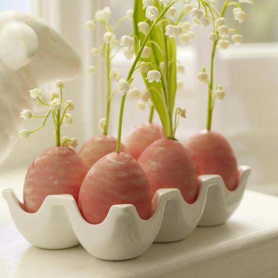 osterdeko ideen ostereier ausgeblasen maiglöckchen