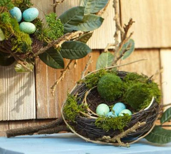osterdeko ideen ostereier grün frühlingsblumen moos nest