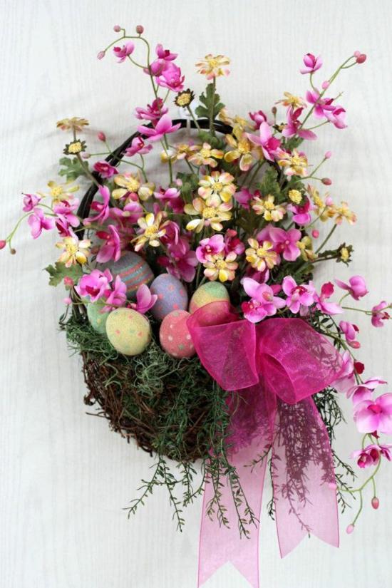 osterdekoration frühlingsblumen schleife osterdeko bastel ideen osterhase kranz