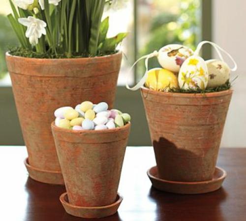 ostereier dekorativ kasten klein ton blumentopf