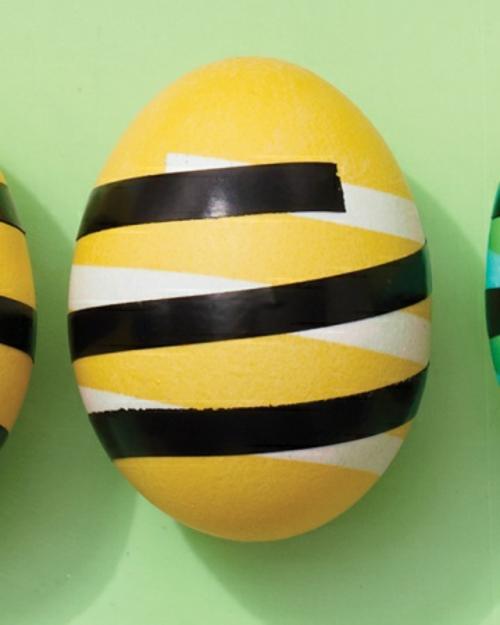 ostereier gestalten muster streifen gelbe farbe