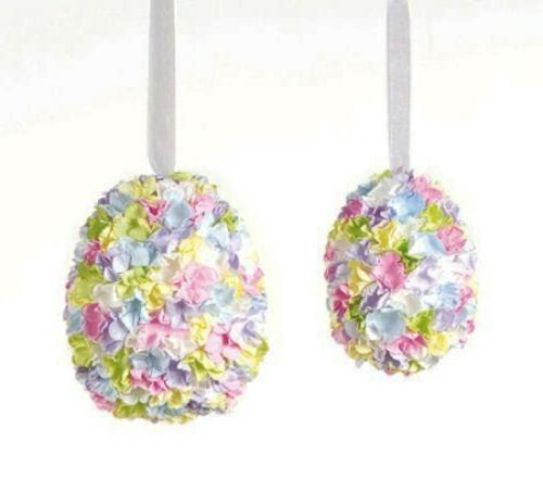 ostereier dekorieren pastellfarbene stoffblumen