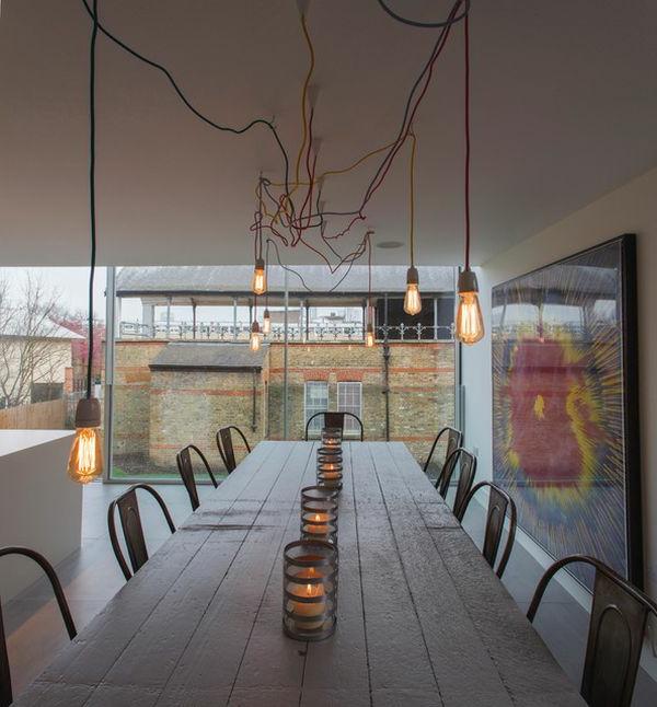 pendelleuchten design glühbirne fassung kabel farbig kunstvoll
