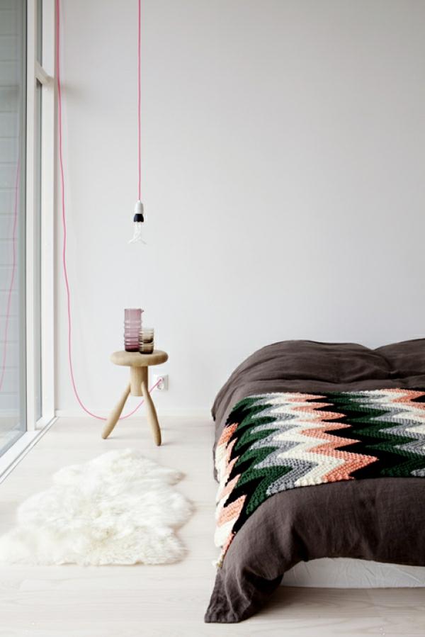 pendelleuchten design glühbirne fassung rosa kabel schlafzimmer