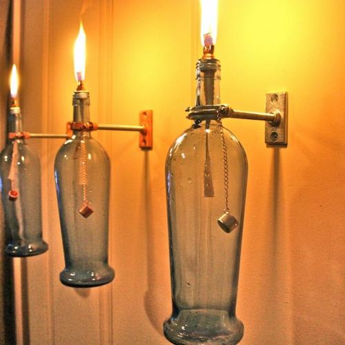 romantische beleuchtung leuchte selber machen gaslampe flaschen