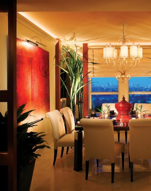 romantische beleuchtung wohnraumbeleuchtung esszimmer zimmerpflanzen ausleuchten