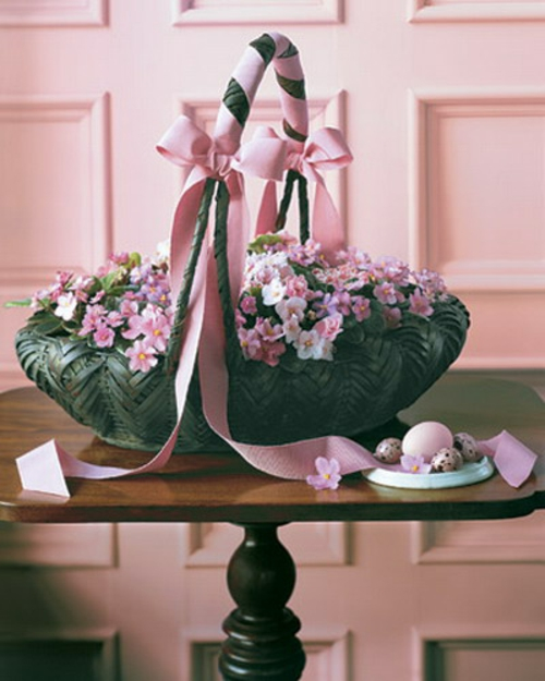 rosa schleife seide korb blüten