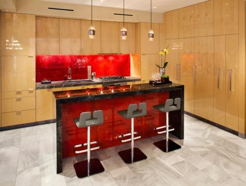 Rote Küchenrückwand Mosaik Fliesen Eingebaut Küchenschrank