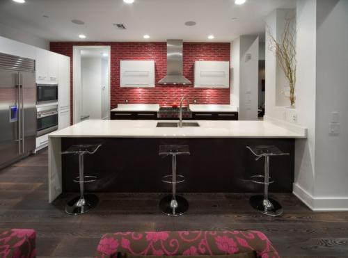 Rote Küchenrückwand Mosaik Fliesen Kücheninsel Spüle