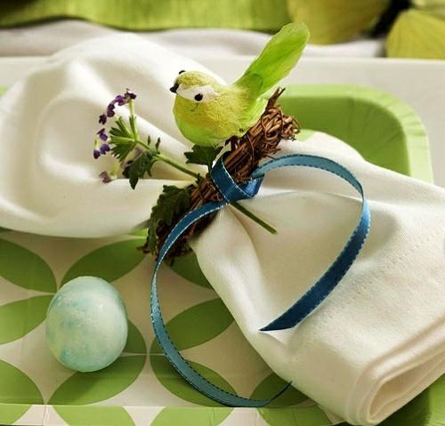 serviette küken künstlich osterei grün farben tischdeko