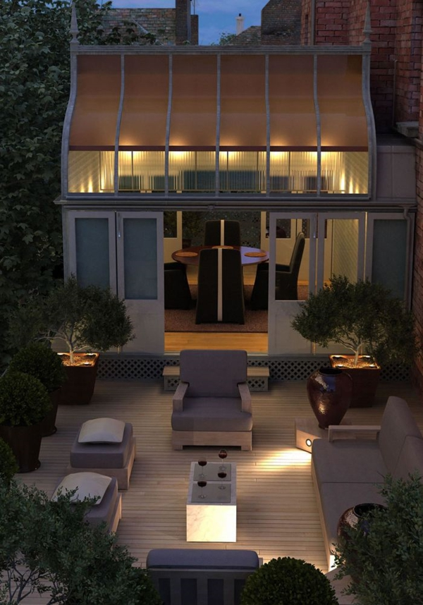 terrassengestaltung gartenlaube übertöpfe sitzecke romantisch