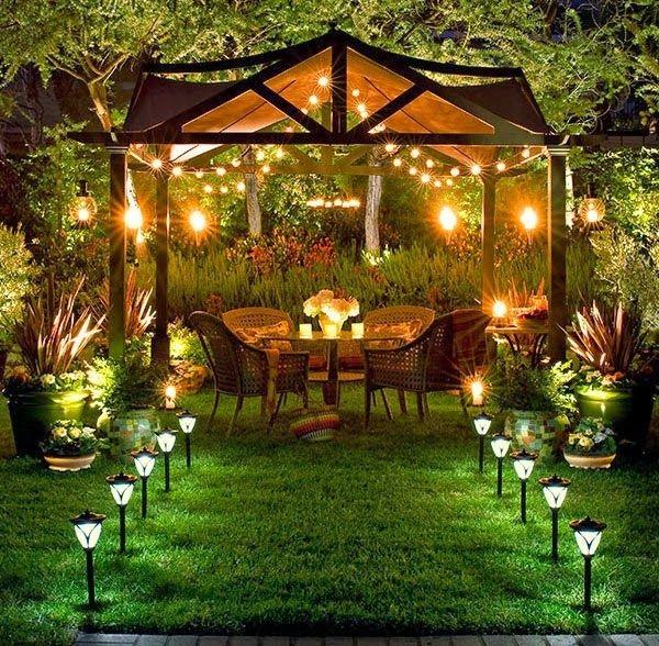terrassengestaltung pergola beleuchtung grünanlagen