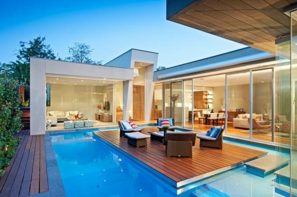 terrassengestaltungsideen sitzecke im pool