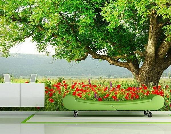 wanddeko fototapeten realistisch wohnzimmer hause baum