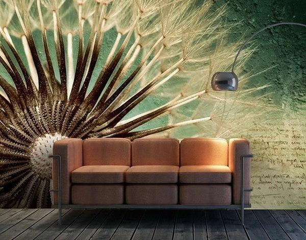 wanddeko mit fototapeten realistisch wohnzimmer hause blüten
