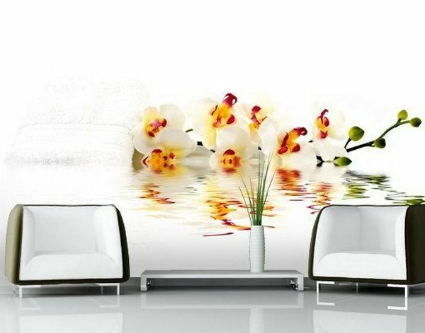 wanddeko  fototapeten realistisch wohnzimmer hause blumen