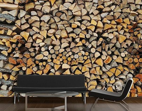 wanddeko fototapeten realistisch wohnzimmer hause brennholz