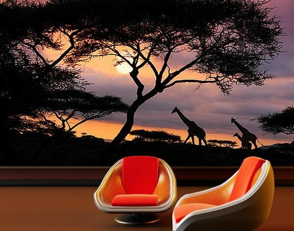 wanddeko fototapeten realistisch wohnzimmer hause giraffe