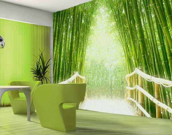wanddeko mit fototapeten realistisch wohnzimmer hause grün