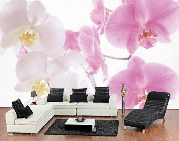 wanddeko mit fototapeten realistisch wohnzimmer hause rosa
