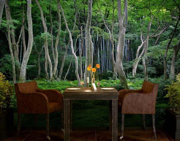 wanddeko mit fototapeten realistisch wohnzimmer natur