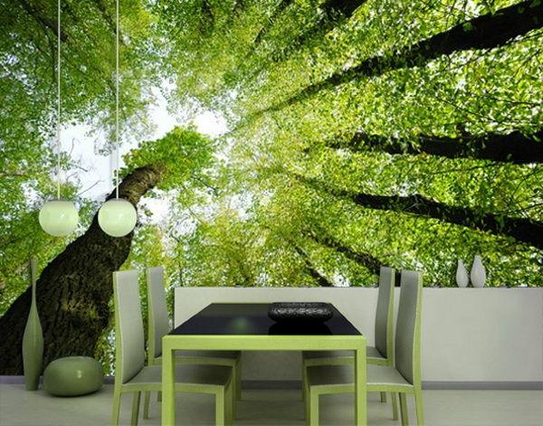 wanddeko mit fototapeten realistisch wohnzimmer