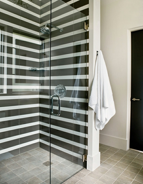 wandfarbe ideen duschkabine gestreifte wände