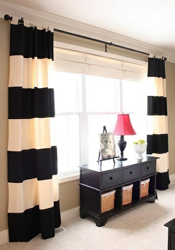 wandfarbe ideen elegante vorhänge breit gestreift