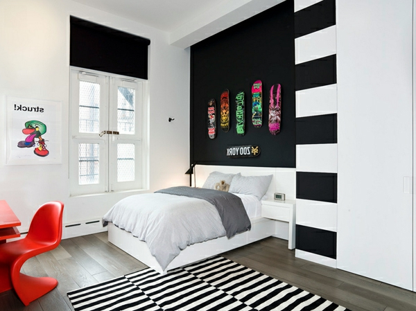 wandfarbe ideen mit elegnaten streifen in schwarz und wei. Black Bedroom Furniture Sets. Home Design Ideas