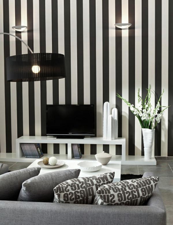wandfarbe ideen schwarz weiß gestreift