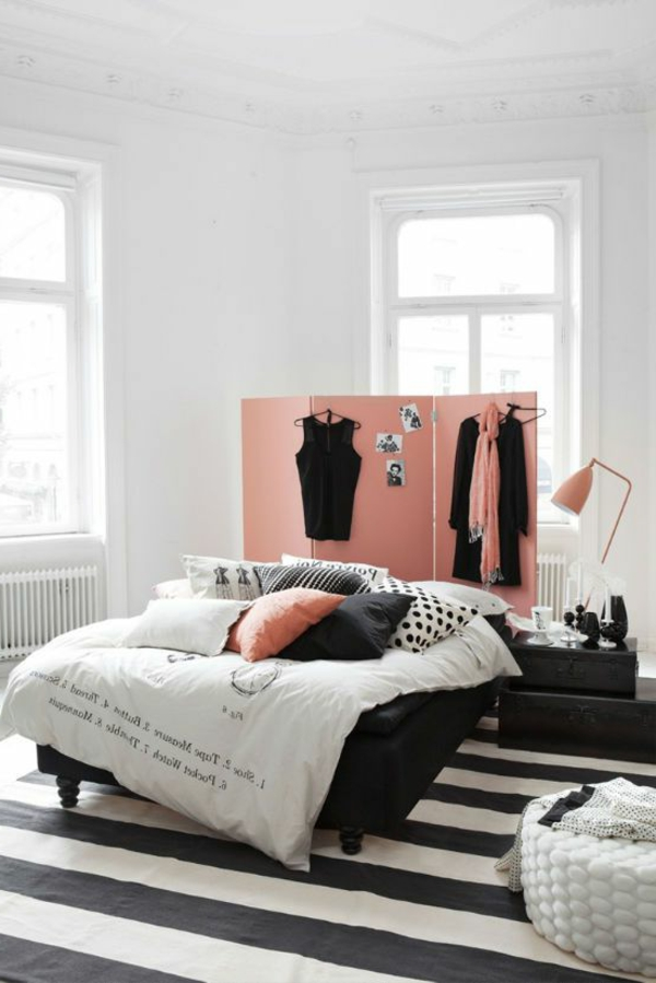 wandfarbe ideen teppichboden schwarz weiß