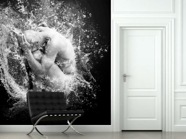 wandgestaltung realistisch wohnzimmer elegant