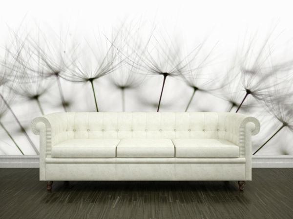 wandgestaltung realistisch wohnzimmer natur sofa leder