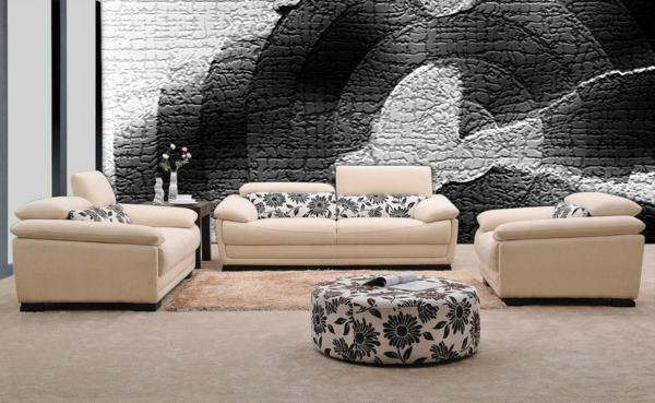 wandgestaltung realistisch wohnzimmer natur