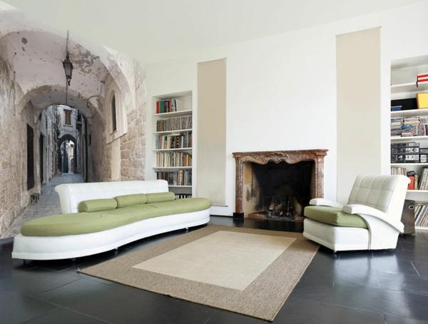 wandtattoo grünes sofa flur
