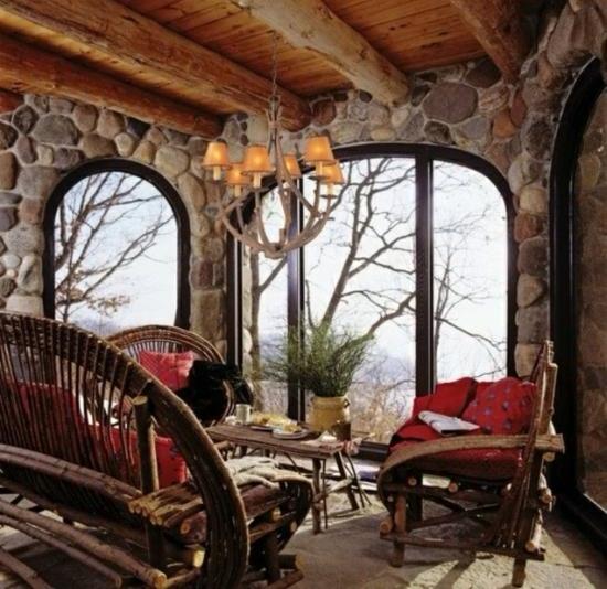 winterterrasse coole einrichtungsideen holz stein landhausstil