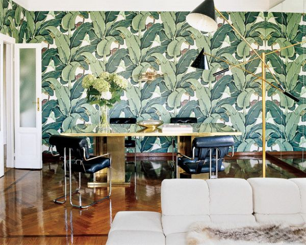 wohnideen grün arbeitszimmer wandtapeten muster palmblatt