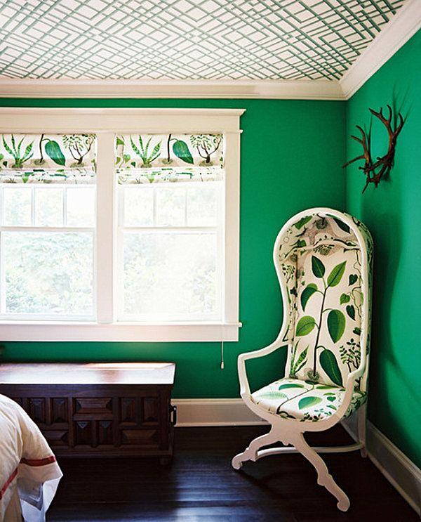 wohnideen grün smaragdgrün wandfarbe muster