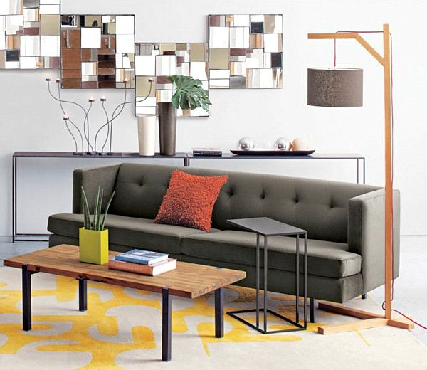 wohnideen grün wohnzimmer sofa palmblatt