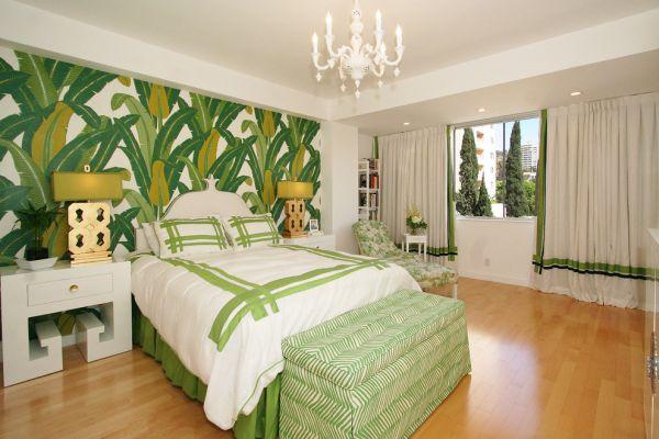 wohnideen im schlafzimmer grüne ausstattung bettwäsche