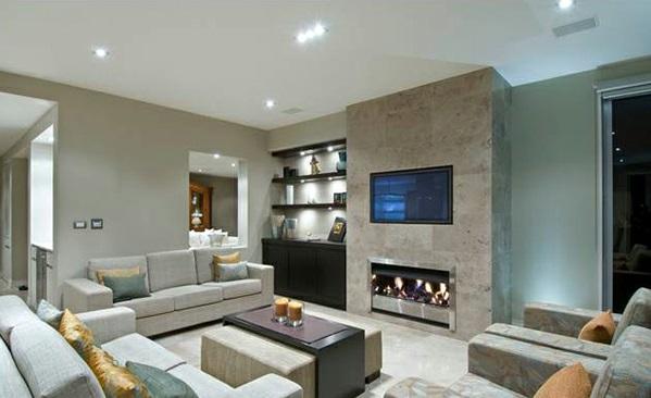 graue-designs-schlafzimmer-kamin - lampe in weiß- wandfarbe grau, Moderne deko