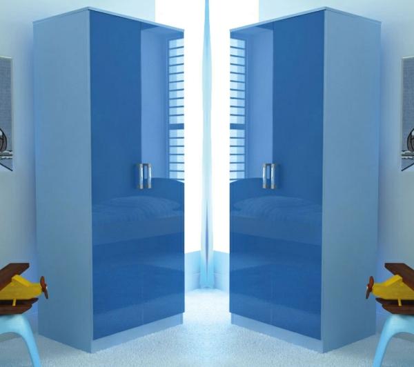 zwei kinderschränke ideen glanzvoll modern blau farben