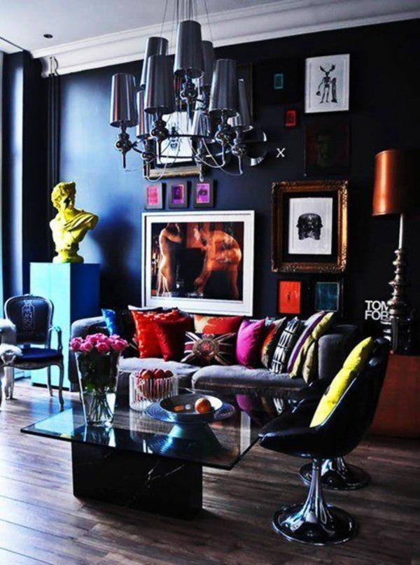 Sthetisfch Dramatisch Dunkel Wohnzimmer Wandfarben