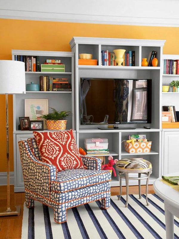 schöne wandfarben wohnzimmer orange wohnzimmer teppich sessel
