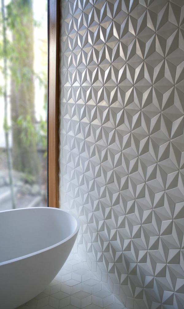 Badezimmer Fliesen Ideen 3d effekt weiß