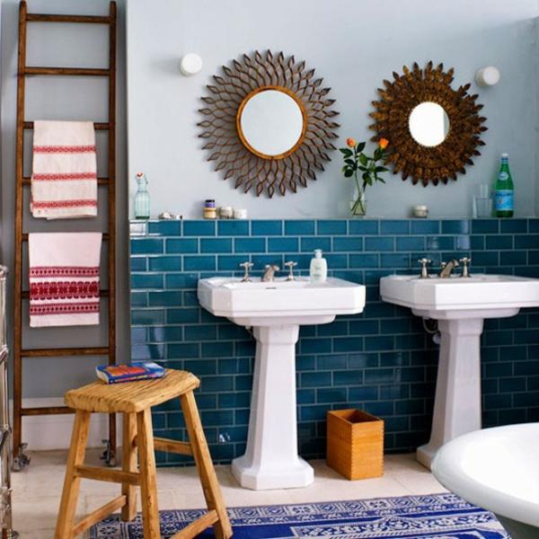Badezimmer Fliesen Ideen mischen eklektisch sonnenspiegel