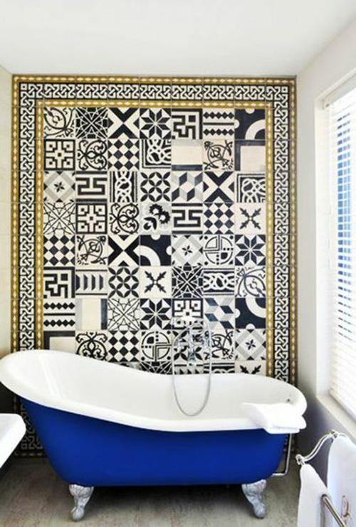 geometrische muster Badezimmer und Badezimmerfliesen blau
