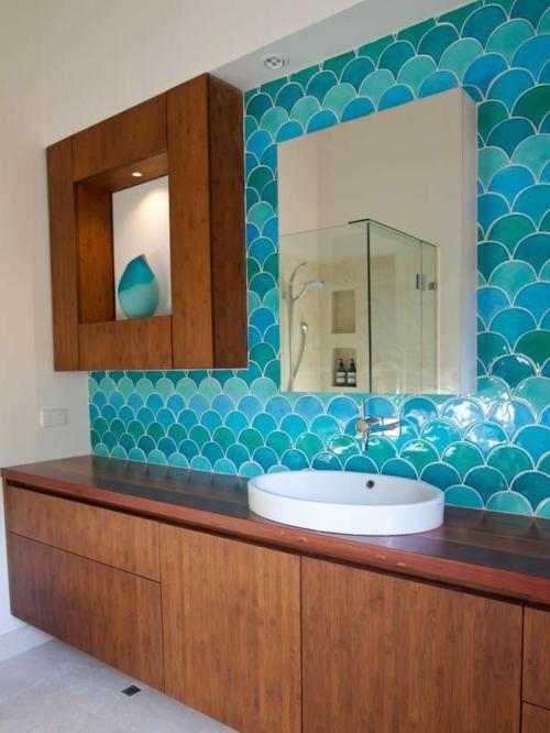 Badezimmer farben designs kunstvoll Badezimmerfliesen