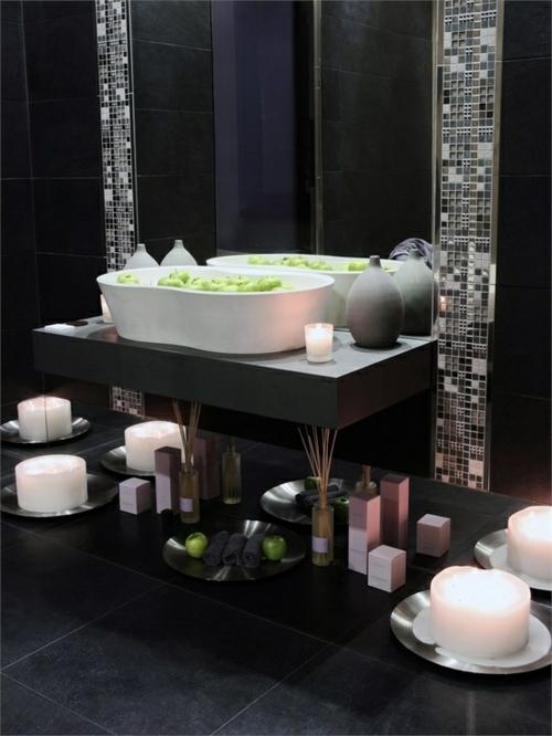 Badezimmer  farben designs schwarz Badezimmerfliesen